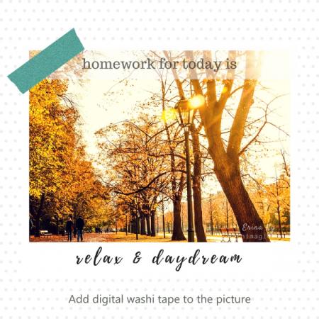 How to use the free digital washi tape | Sample of using the digital washi tape from the freebies library | Washimagic.com
